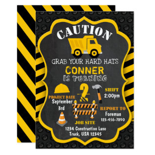 Construction Birthday Invitation | Dump Truck | at Zazzle