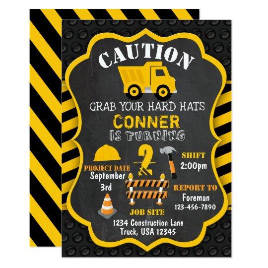 construction birthday invitation dump truck zazzle com