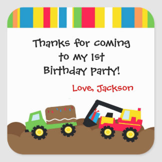 Construction Birthday Party Favor Stickers Label