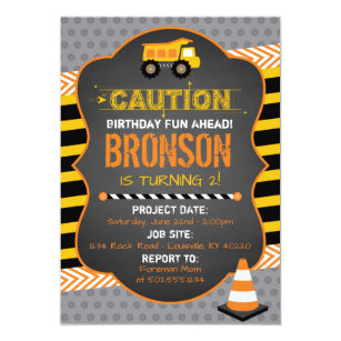 Construction Birthday Invitations Announcements Zazzle