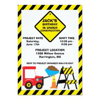 """Construction Birthday Party Invitation 5"""" X 7"""" Invitation Card"""