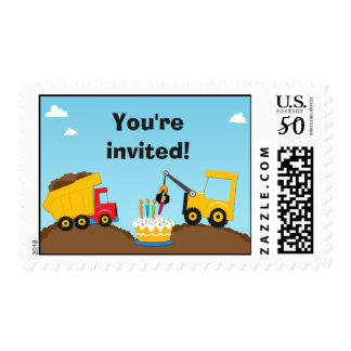 Construction Birthday Party Postage Stamp