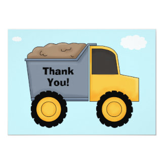 Construction Birthday Party Thank You Card