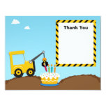 Construction Birthday Party Thank You Card Personalized Announcement