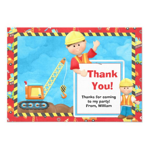 Construction Birthday Party Thank You Invitations