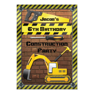 """Construction Birthday Party Tools and Diggers 5"""" X 7"""" Invitation Card"""