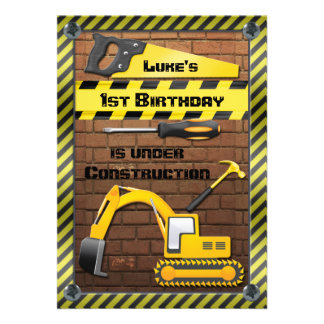 Construction Birthday Party Tools and Diggers Personalized Invitation