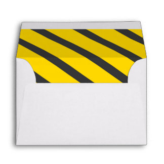 Construction birthday party yellow gray stripes envelope
