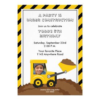 Construction Birthday Photo Invitation