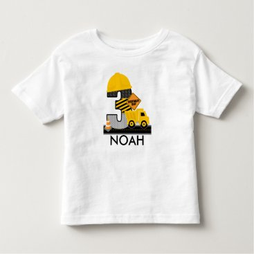birthday Construction Birthday Shirt, Dump Truck Age 3 Toddler T-shirt