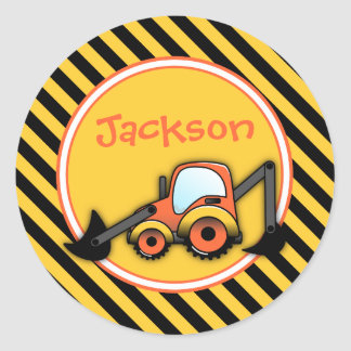 Construction Birthday Stickers, Digger Party Favor Classic Round Sticker
