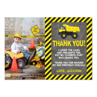 Construction Birthday Thank You Card with Photo