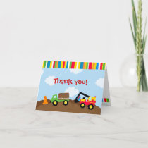 Construction Birthday Thank you note cards cards by Lit