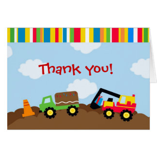 Construction Birthday Thank you note cards