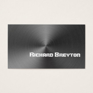 Construction black grey metal custom business card