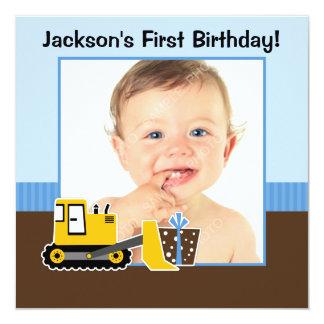 Construction Blue Brown 1st Birthday Boy Photo Card