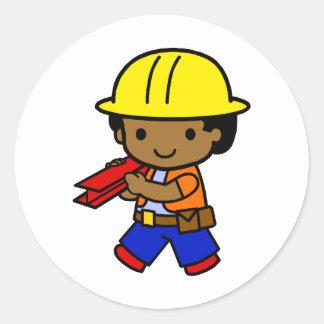 Construction Boy Classic Round Sticker