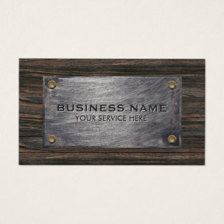 Construction Builder Wood & Metal Professional Business Card