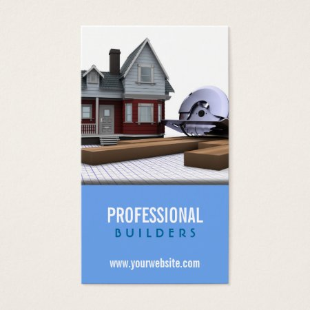Model House and Circular Saw Professional Builders Business Cards Template