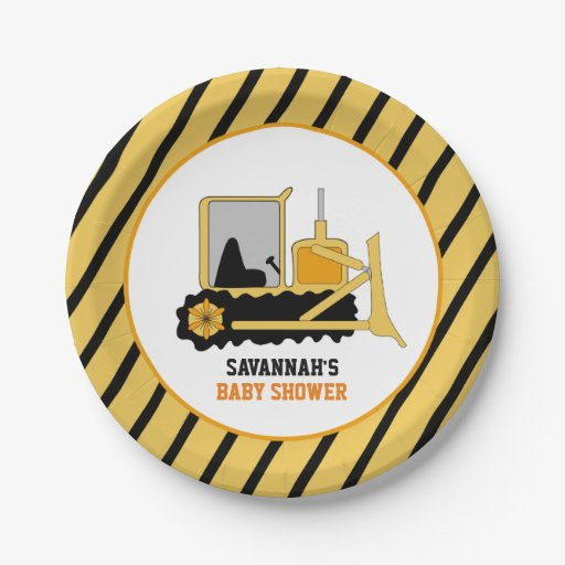 Construction Bulldozer Baby Shower Paper Plate