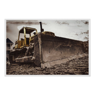 Construction Bulldozer Poster