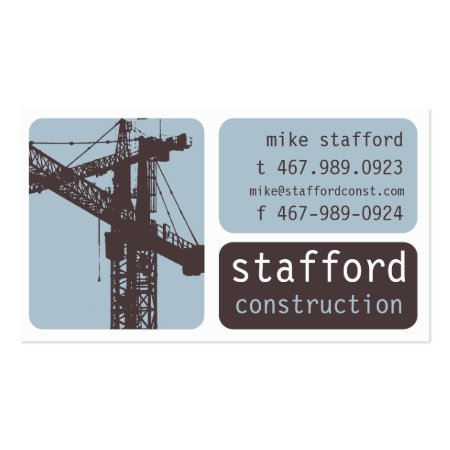 Tower Cranes Blue White and Dark Gray Construction Business Cards