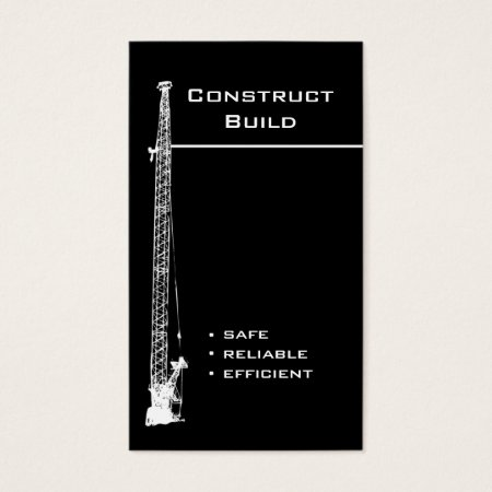 Black and White Large Construction Crane Business Cards Template