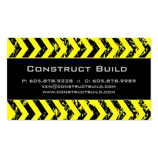Road construction business card templates bizcardstudio construction business card grunge yellow black fbccfo Images