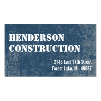 Construction Business Cards Blue Stone
