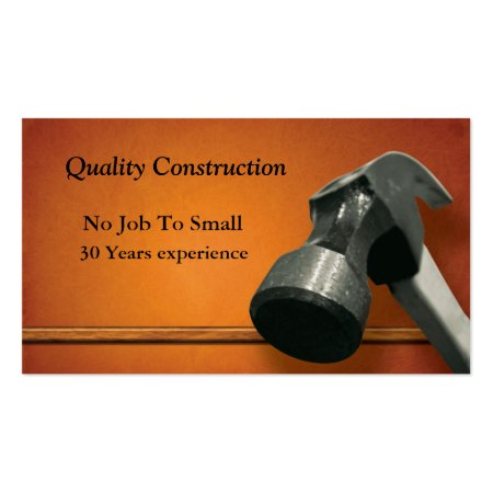 Close up Hammer Head Orange Building and Construction Tradesman Business Cards