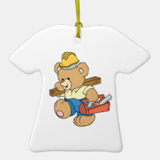 Construction Carpenter Bear Double-Sided T-Shirt Ceramic Christmas Ornament
