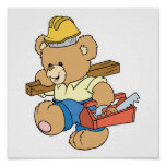 Construction Carpenter Bear Poster
