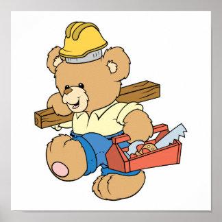 Construction Carpenter Bear Poster
