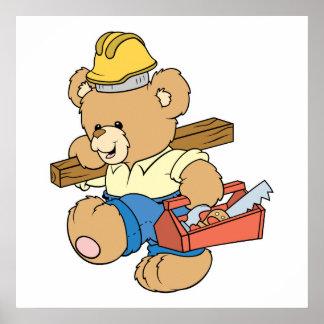 Construction Carpenter Bear Print