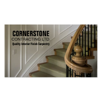 Construction Carpentry Contractor Staircase Trims Business Card Template