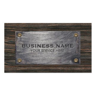 Construction Classy Wood & Metal Professional Business Card