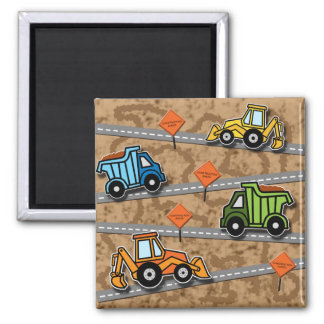 Construction Collage 2 Inch Square Magnet