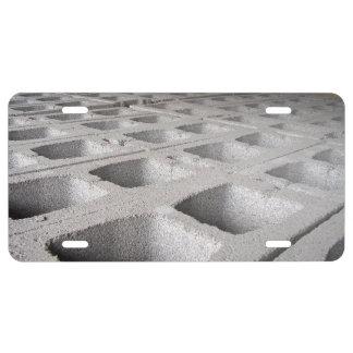Construction concrete blocks license plate