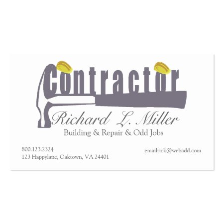 Hammer Builder Contractor Business Cards Template