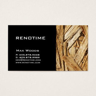 Construction Contractor Business Card Wood Black