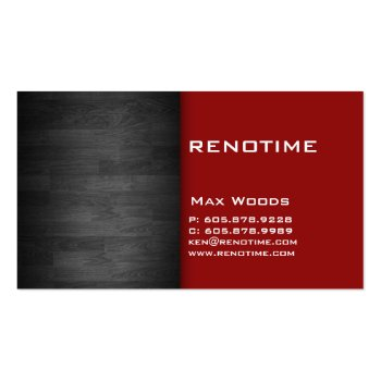 Construction Contractor Business Card Wood Red