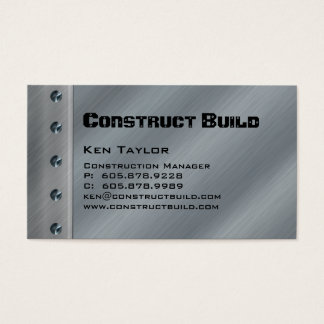 Construction Contractor Metal Business Card