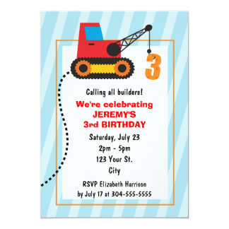 Construction Crane 3rd Birthday Personalized Announcements