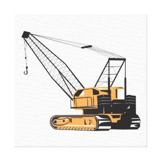 Construction Crane Hoist Retro Stretched Canvas Prints