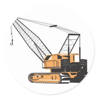 Construction Crane Hoist Retro Classic Round Sticker