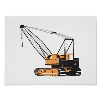Construction Crane Hoist Retro Poster