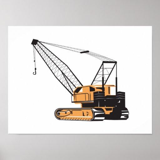 Construction Crane Hoist Retro Poster