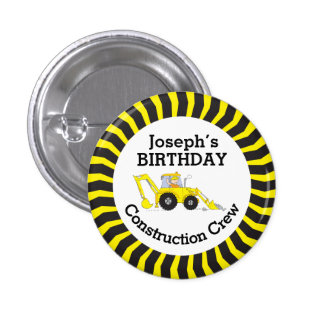 Construction crew boys birthday badge pinback buttons