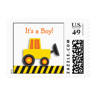 Construction Digger Baby Boy Postage Stamps