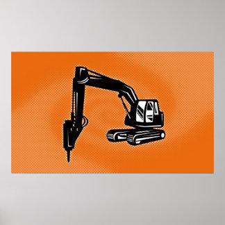 construction digger mechanical excavator poster